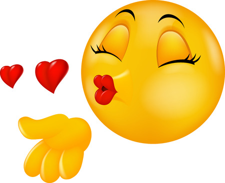 emociones: Cartoon besando redonda cara emoticon haciendo beso al aire