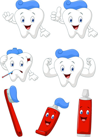 tooth paste: Tooth, brush and tooth paste cartoon character collection