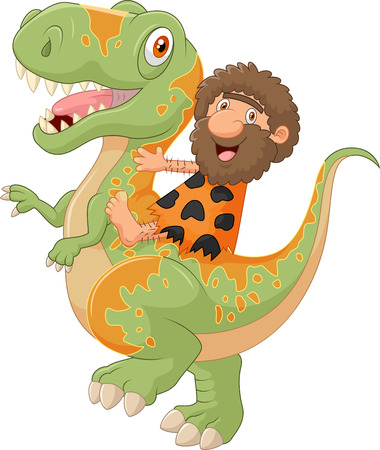 dinosaur animal: Cartoon caveman riding a dinosaur