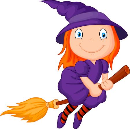 broomstick: Cartoon flying wizard