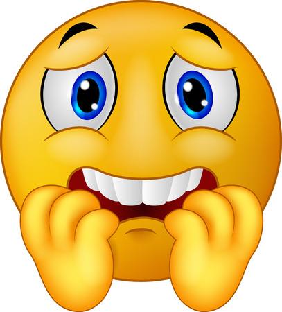 caras de emociones: Emoticon miedo de dibujos animados sonriente