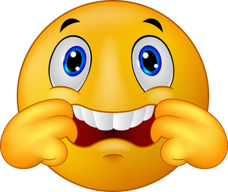 Cartoon Emoticon smiley making a teasing face Illustration