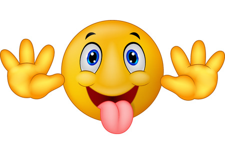 Playful emoticon smiley cartoon jokingly stuck out its tongue