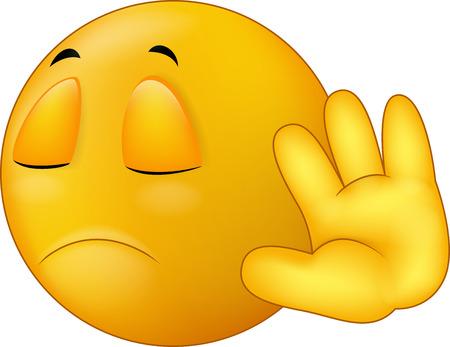 Talk to my hand gesture, smiley emoticon cartoon
