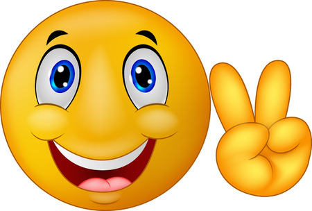 freedom of expression: Cartoon Smiley emoticon with v sign