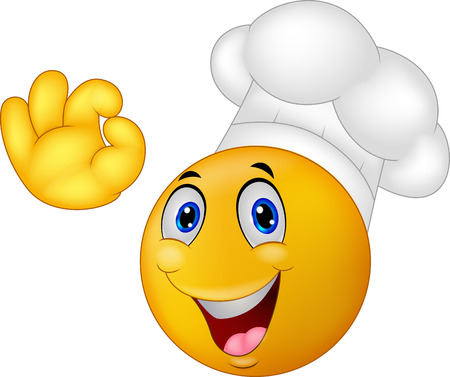carita feliz caricatura: Cocinero de dibujos animados emoticon sonriente