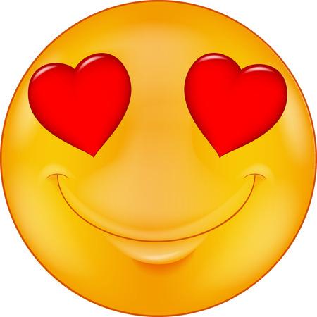 cuore: Cartoon Smiley in amore Vettoriali