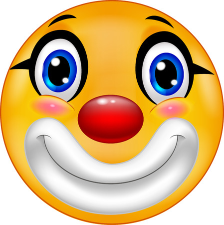 crazy face: Clown emoticon cartoon Illustration