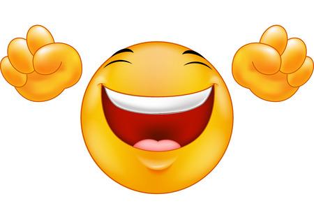 laugh emoticon: Happy smiling emoticon  cartoon Illustration