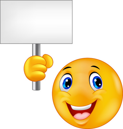 a signboard: Smiley emoticon cartoon holding a blank sign Illustration