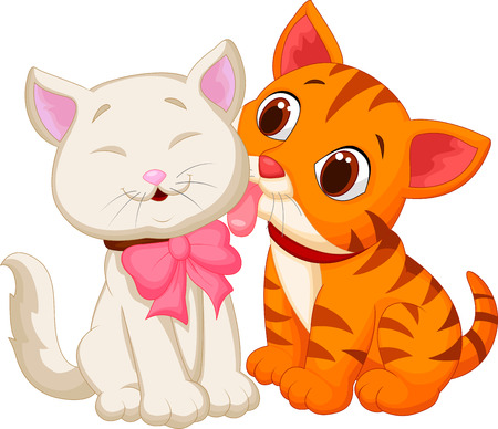 licking: Cartoon cat licking Illustration