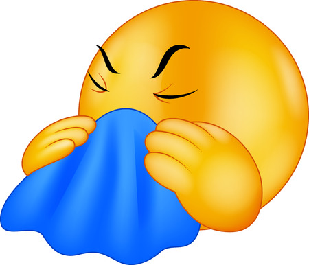 cold virus: Emoticon smiley cartoon coughing