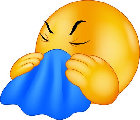 enfermo: Emoticon sonriente tos dibujos animados