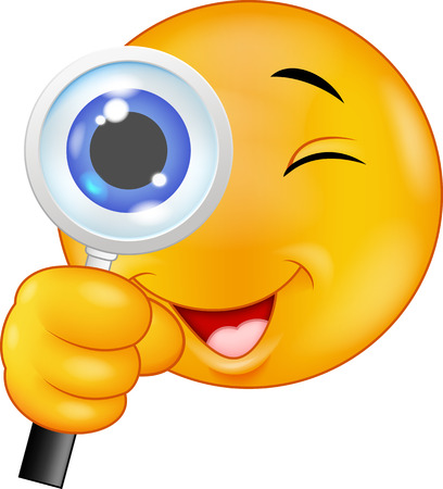 Cartoon Emoticon holding a magnifying glass