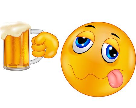 smiley face cartoon: Smiley emoticon cartoon holding beer Illustration
