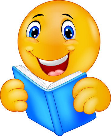 Happy smiley emoticon cartoon reading book