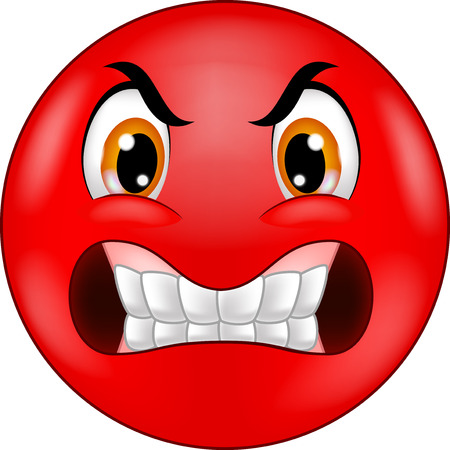 caras de emociones: Angry dibujos animados emoticon sonriente