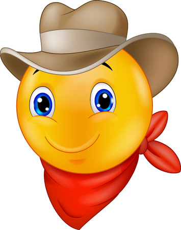 Cowboy smiley emoticon cartoon Ilustracja