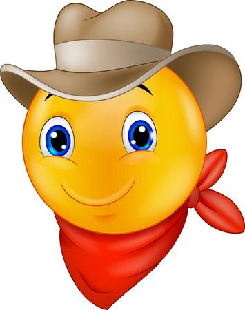 carita feliz caricatura: Vaquero de dibujos animados emoticon sonriente Vectores