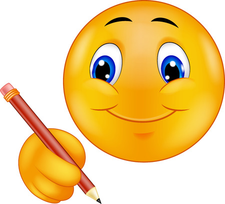 carita feliz caricatura: Escritura Cartoon Emoticon Vectores