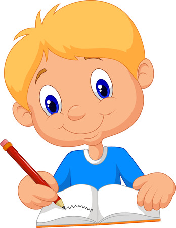 school illustration: Happy boy cartoon writing in a book
