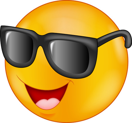 Smiling emoticon cartoon wearing sunglasses