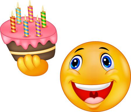 Smiley emoticon cartoon holding birthday cake Vector
