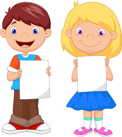 boy and girl holding hands: Little kids cartoon holding blank paper Illustration