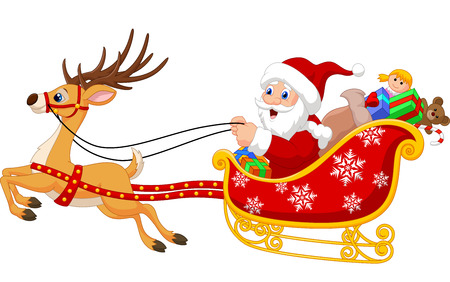 Cartoon Santa in his Christmas sled being pulled by reindeer Ilustração