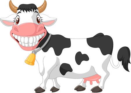 cartoon cow: Vaca feliz de dibujos animados
