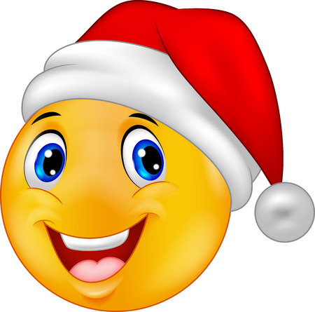Cartoon Smiling smiley emoticon in a santa hat Illustration