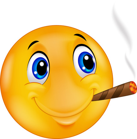 cigars: Cartoon Emoticon smiley smoking cigar