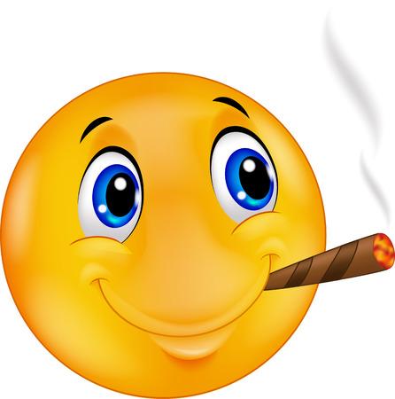feeling: Cartoon Emoticon smiley smoking cigar
