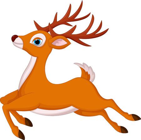 Ciervos correr dibujos animados Ilustración de vector