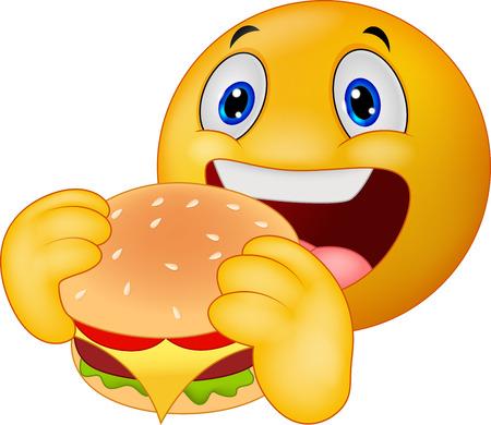 Cartoon Emoticon smiley eating hamburger Vector