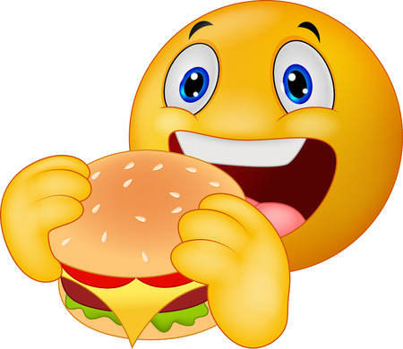 carita feliz caricatura: Cartoon Emoticon sonriente comer hamburguesa Vectores