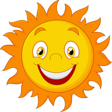 sun flares: Happy cartoon sun