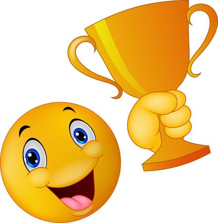 caras emociones: Feliz sonrientes de dibujos animados emoticon celebraci�n trofeo