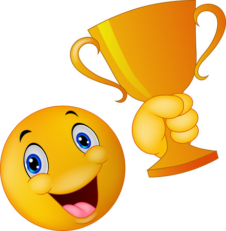 Happy smiley emoticon cartoon holding trophy