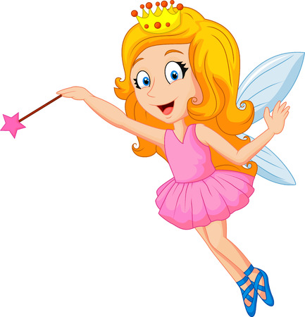 Cartoon fairy with magic wand Illustration