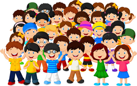 little boy and girl: Crowd children cartoon Illustration