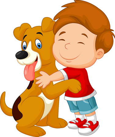 Happy cartoon young boy lovingly hugging his pet dog