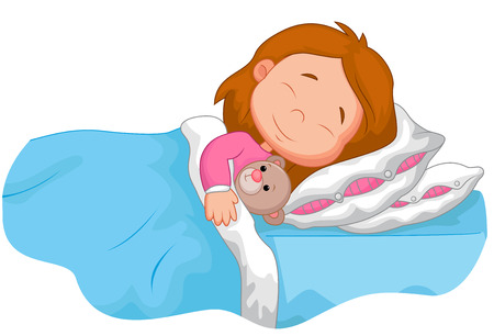 stuffed animals: Cartoon girl sleeping with stuffed bear