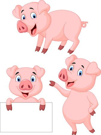 cerdo caricatura: Colección de dibujos animados de cerdo Vectores