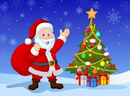 x mas parties: Cartoon Santa clause with Christmas tree Illustration