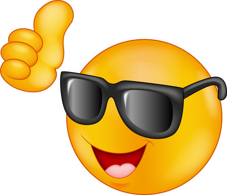 Smiling emoticon cartoon wearing sunglasses giving thumb up Vector