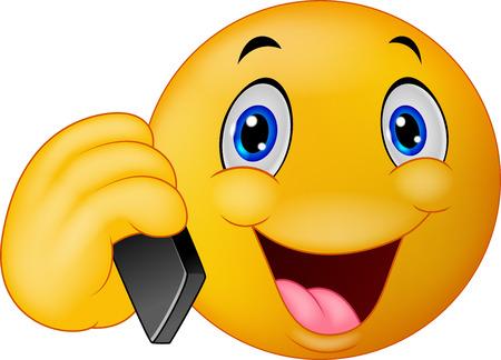 caras graciosas: Cartoon Emoticon sonriente hablando por tel�fono celular Vectores