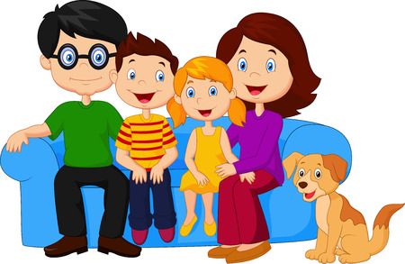 woman on couch: Happy family cartoon sitting on sofa
