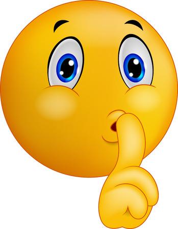 �silence: Cartoon Emoticon sonriente haciendo se�al de silencio Vectores