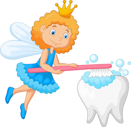 butterfly myth: Cartoon Tooth fairy brushing tooth